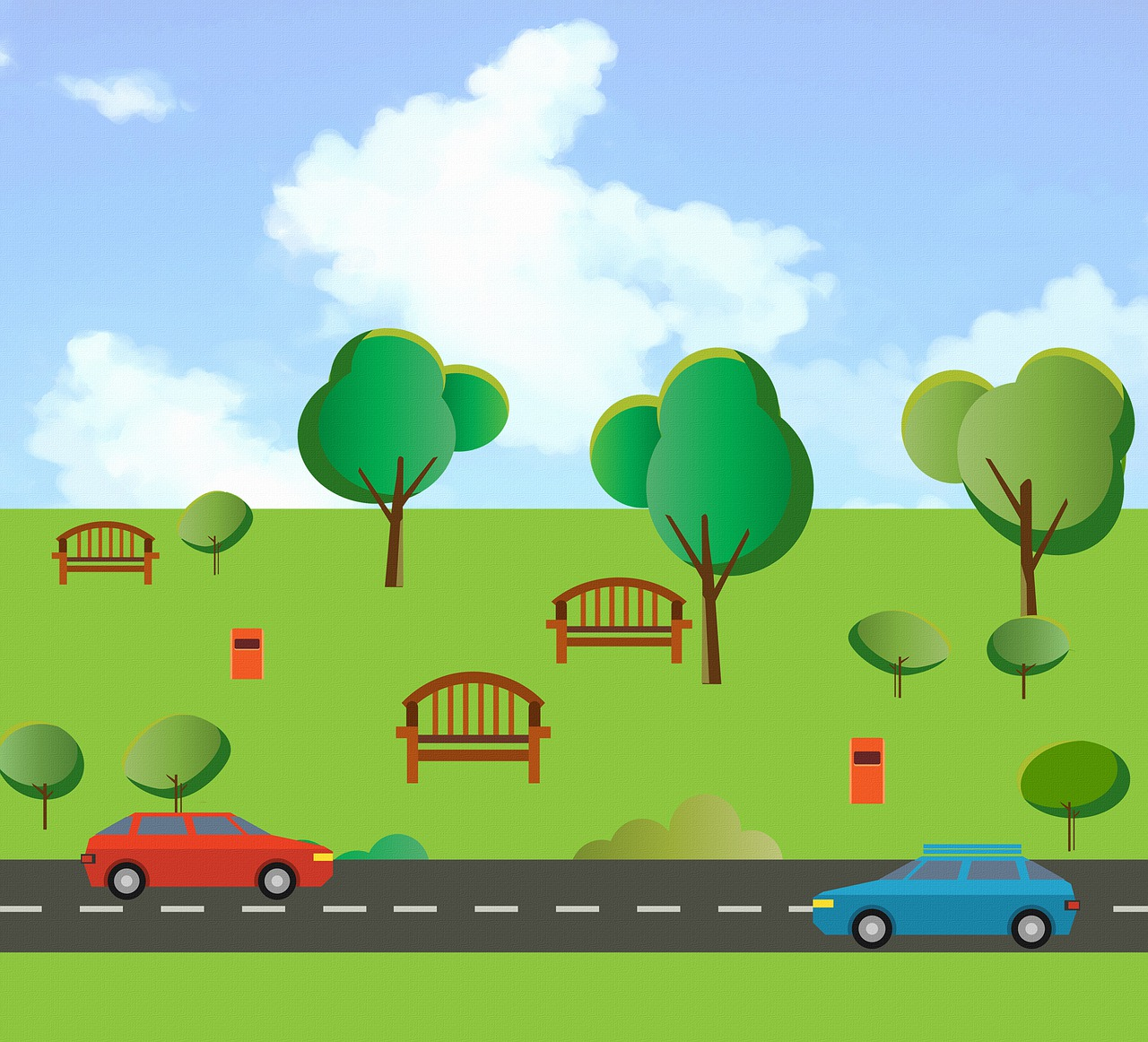 A stylized image of two cars driving on a road in front of a green park with trees